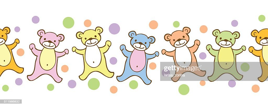 Seamless kids border pattern with funny coloful teddy-bears and dots.