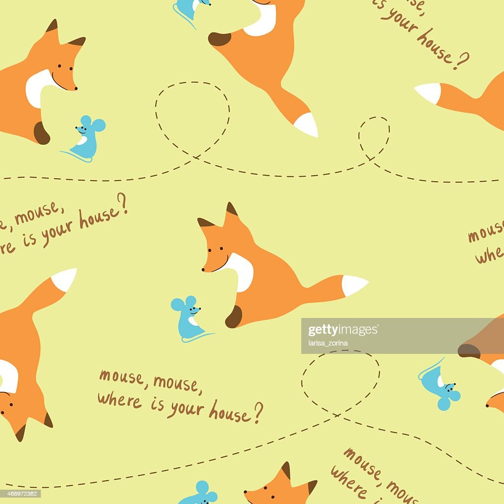Seamless kids pattern with fox and mouse