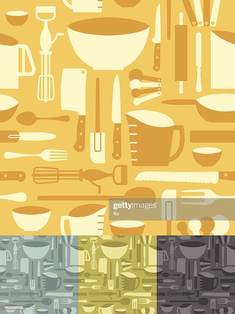 Seamless Kitchen Utensils Background Vector Art Getty Images