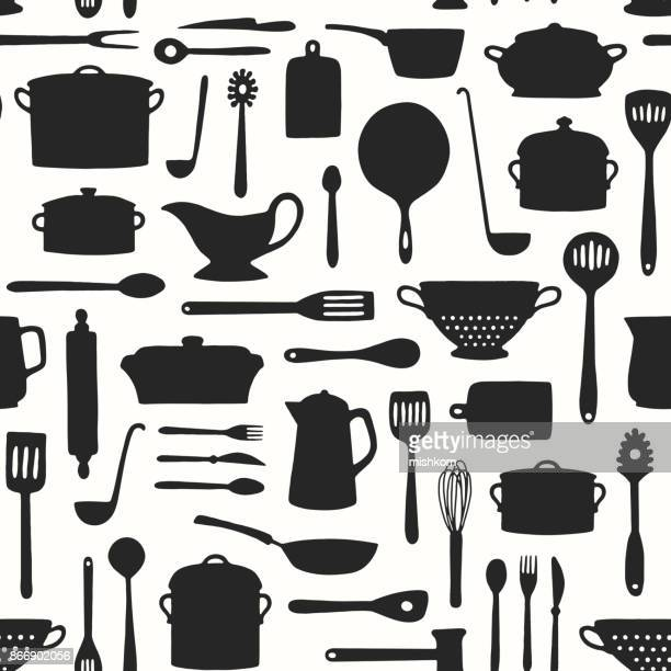seamless kitchenware pattern - cooking pan stock illustrations