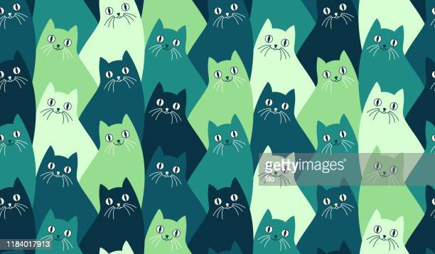 seamless kitty cat pattern - mammal stock illustrations