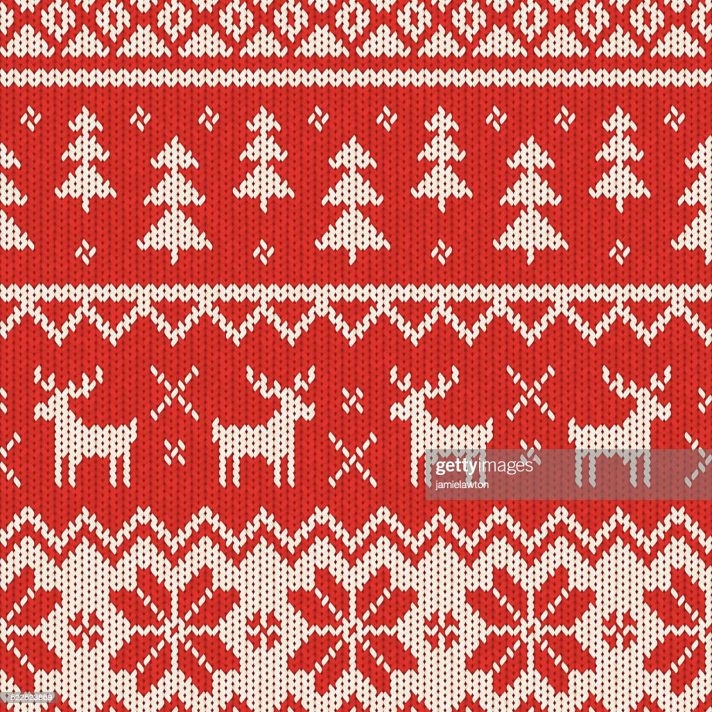 Seamless Knitted Christmas Pattern : stock illustration