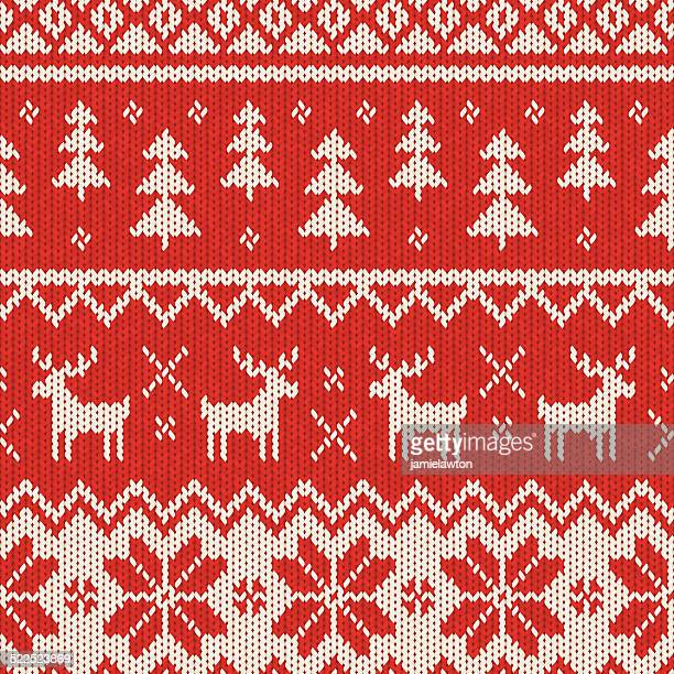 seamless knitted christmas pattern - jumper stock illustrations