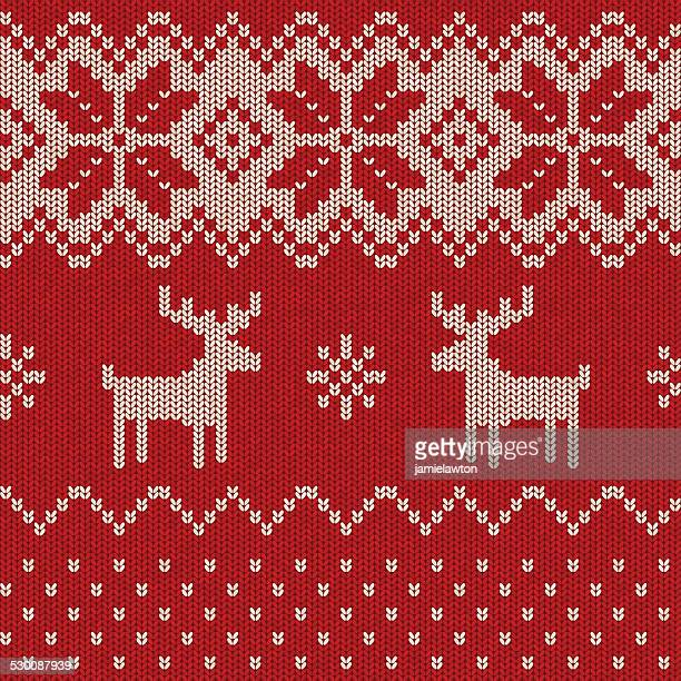 seamless knitted christmas pattern - sweater stock illustrations, clip art, cartoons, & icons