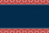 Seamless Knitted Pattern. Christmas and New Year Design Background with a Place for Text. Wool Knitting Texture Imitation