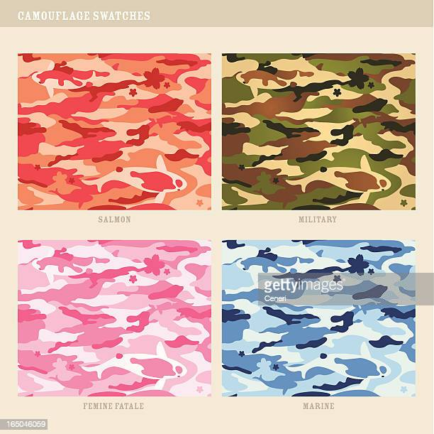 seamless koi fish camouflage swatches - camouflage stock illustrations