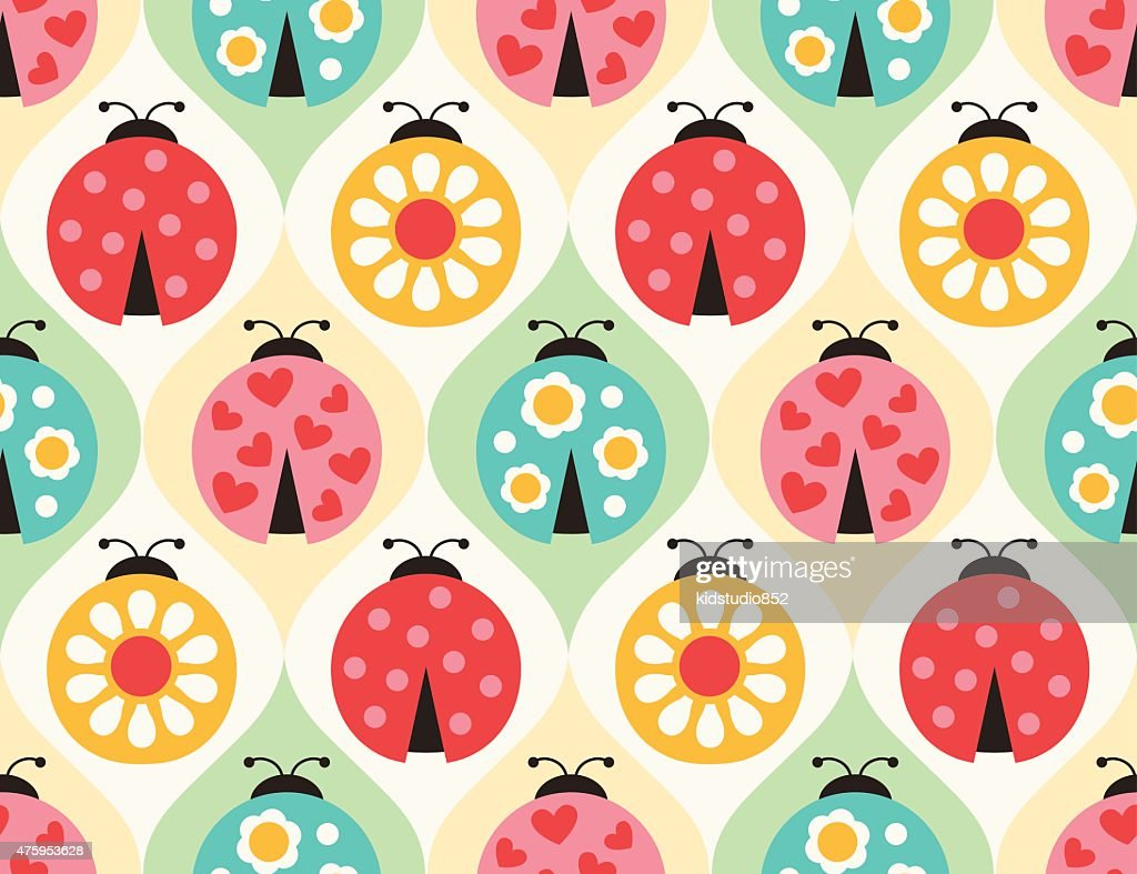 seamless ladybug insects pattern
