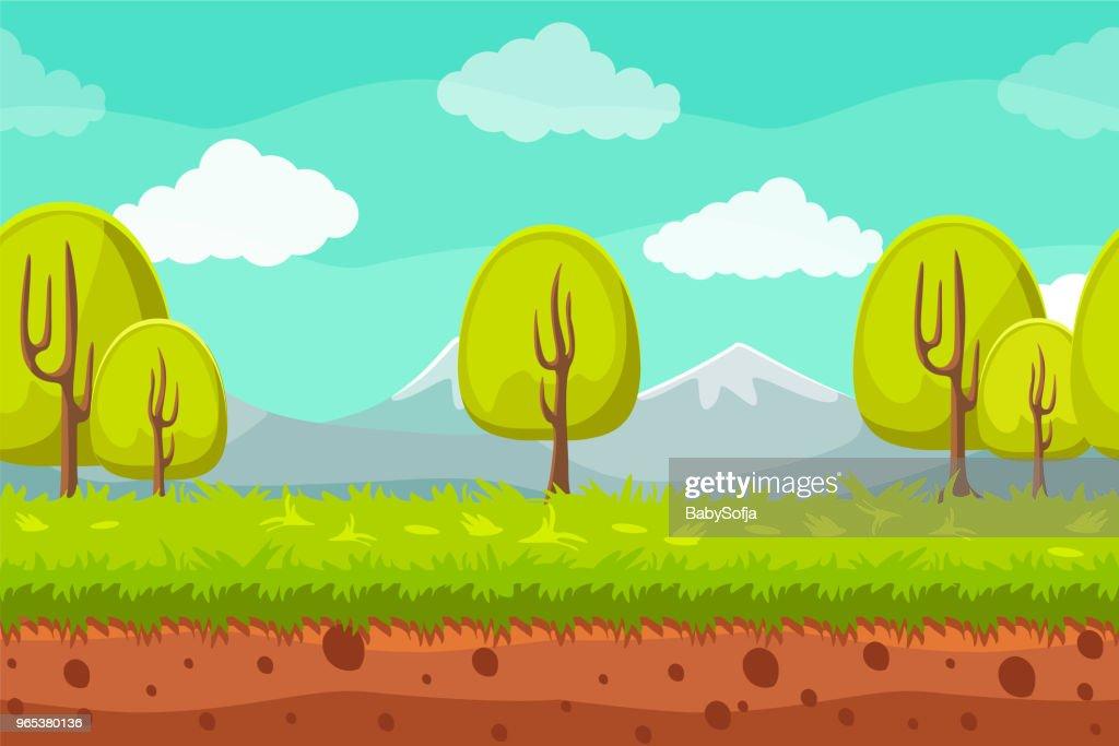 Seamless landscape background. Cartoon horizontal background for games