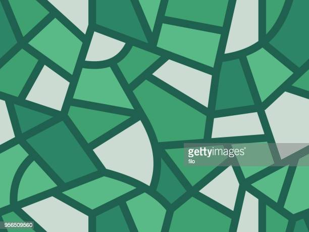seamless landscape background - stained glass stock illustrations