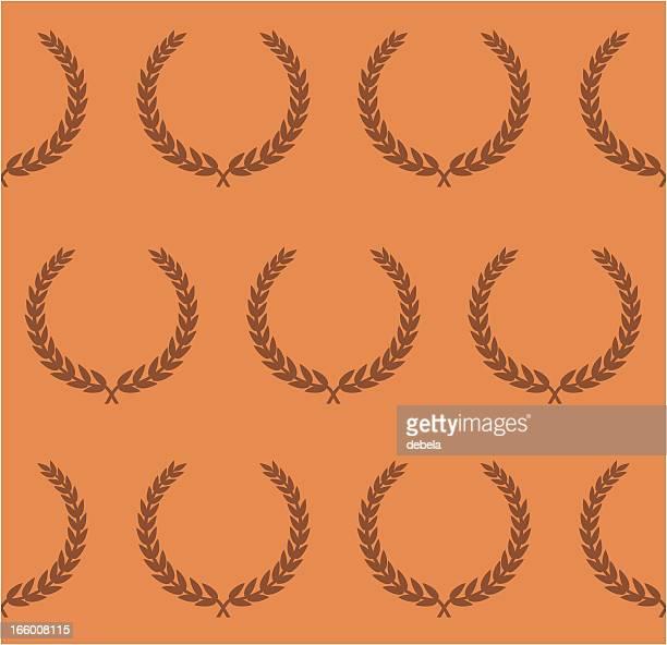 seamless laurel wreath wallpaper - diadem stock illustrations