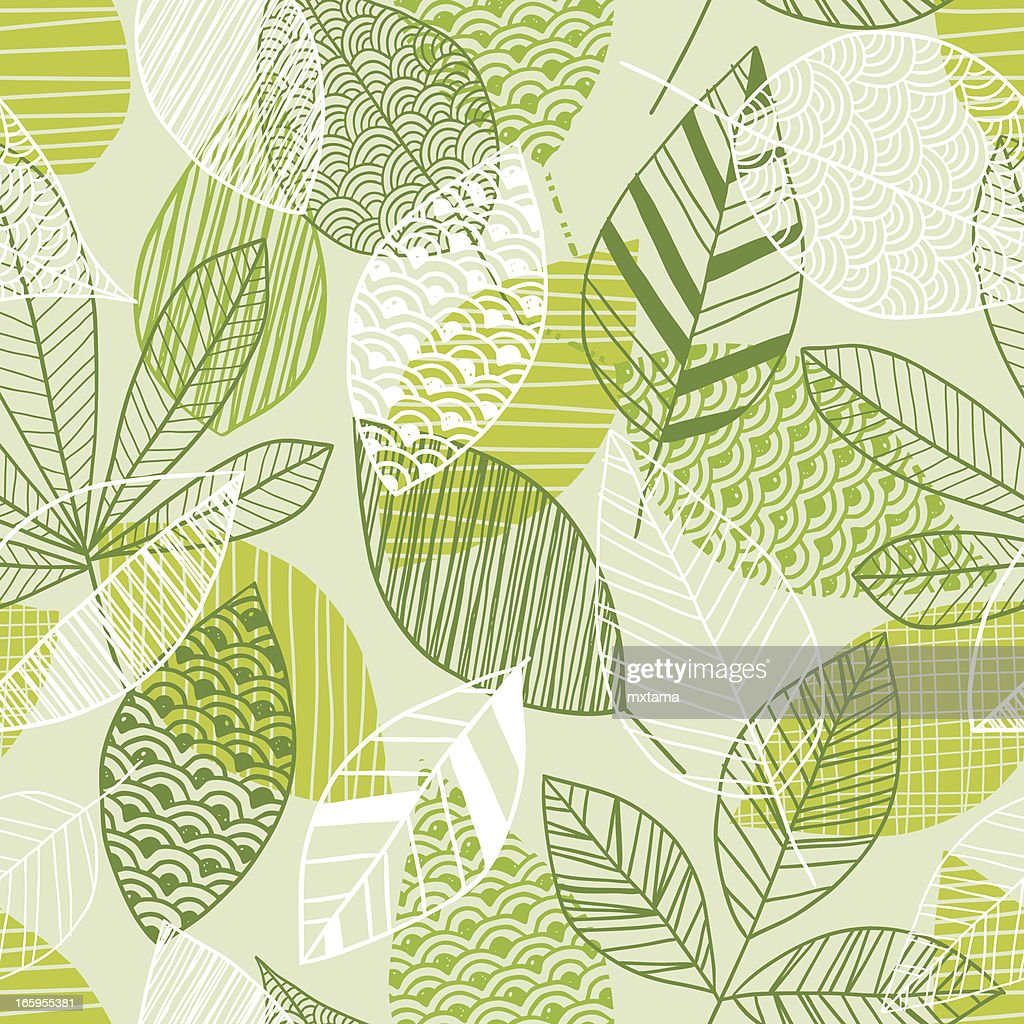 Seamless leaf pattern in shades of green
