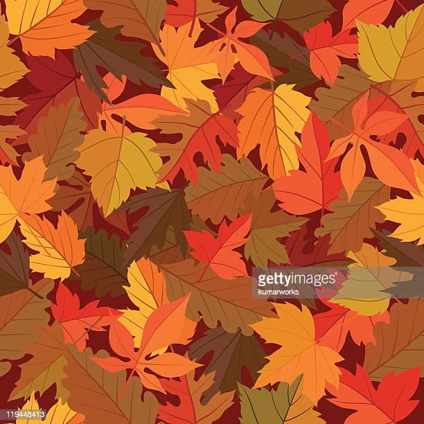 seamless leaves pattern - autumn leaf stock illustrations