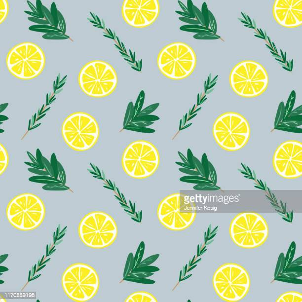 seamless lemon and herbs pattern illustration, blue background - juicy stock illustrations, clip art, cartoons, & icons