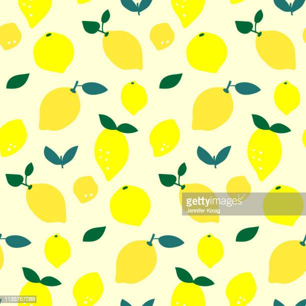 Seamless lemon fruit pattern illustration, yellow background
