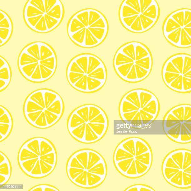 seamless lemon slice pattern illustration - lemonade stock illustrations