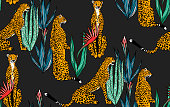 Seamless leopard in different poses pattern. Vector illustration