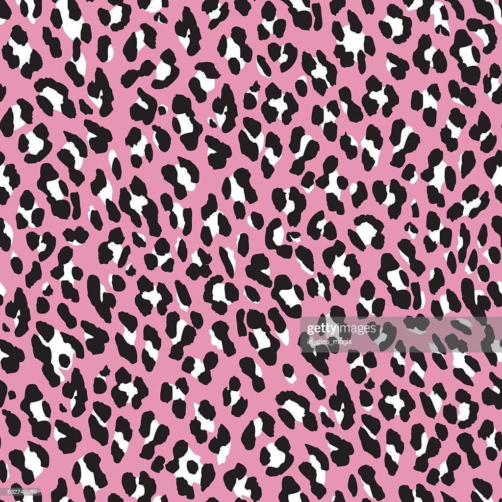 Seamless leopard pattern. Pink fur leopard