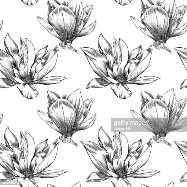 水彩とペンとインク要素とシームレスなマグノリアの花のパターン