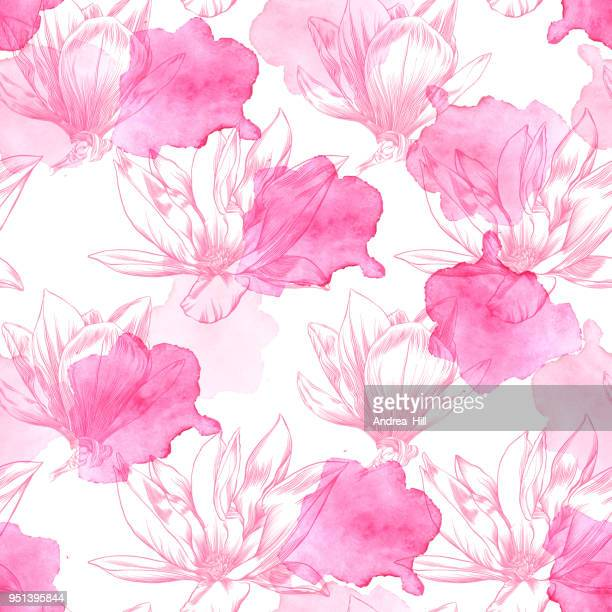seamless magnolia flower pattern with watercolor and pen and ink elements - flowering trees stock illustrations, clip art, cartoons, & icons
