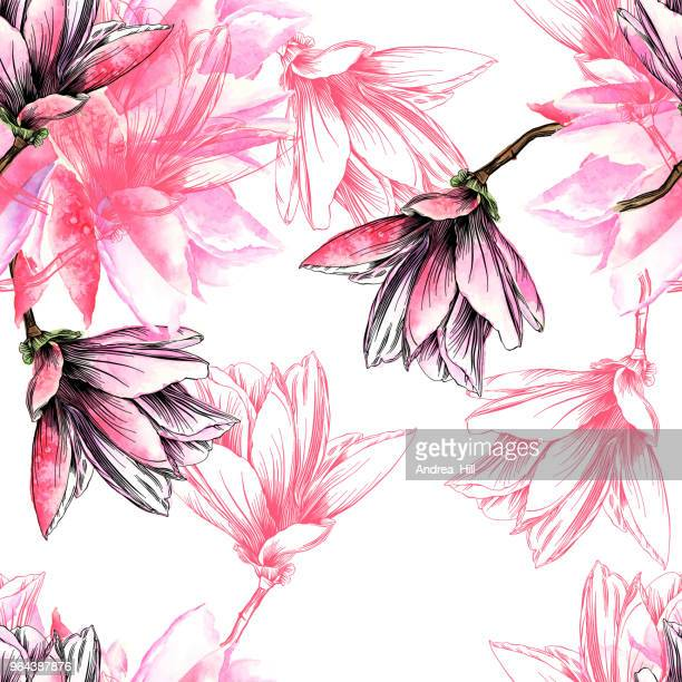 seamless magnolia flower pattern with watercolor and pen and ink elements - flowers white background stock illustrations, clip art, cartoons, & icons