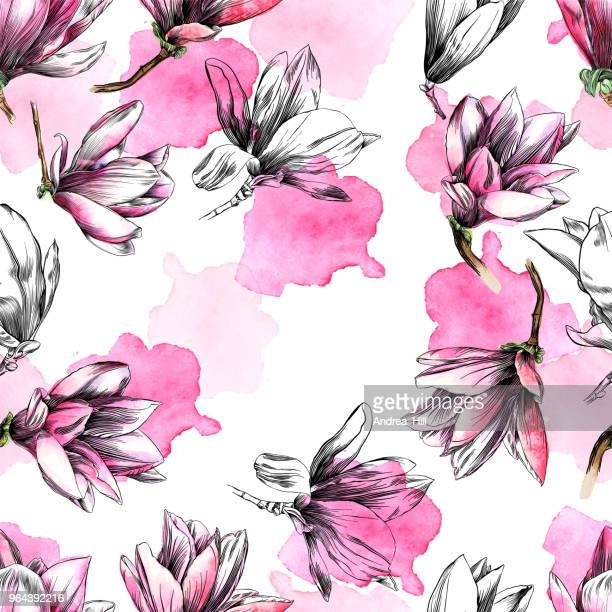 seamless magnolia flower pattern with watercolor and pen and ink elements - single flower stock illustrations