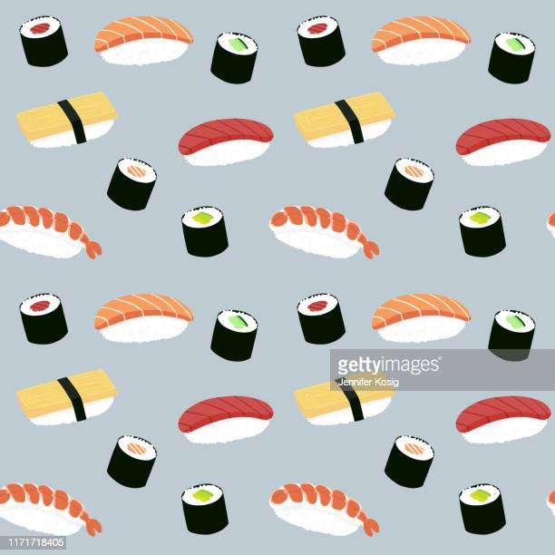 seamless maki and nigiri sushi illustration pattern, blue background - nigiri stock illustrations