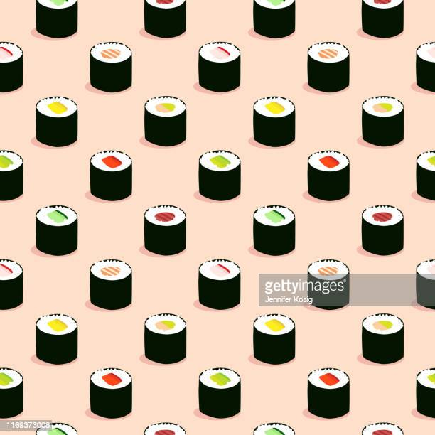 seamless maki sushi illustration pattern, pink background - nori stock illustrations