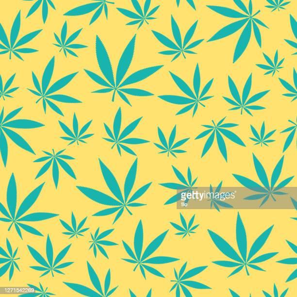 seamless marijuana cannabis leaf background pattern - marijuana leaf stock illustrations