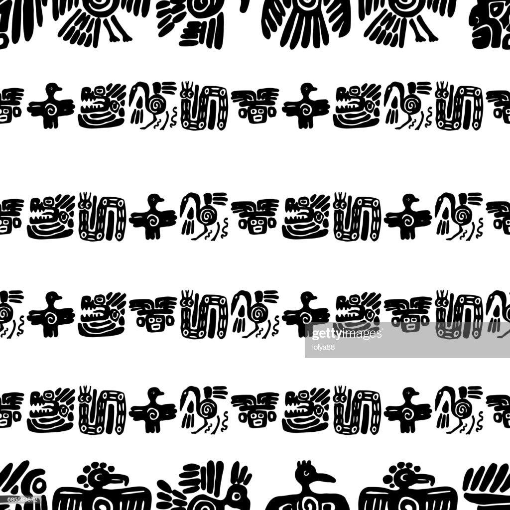 Seamless maya pattern. Black and white ethnic elements