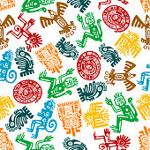 Seamless mayan and aztec pattern of animal totems