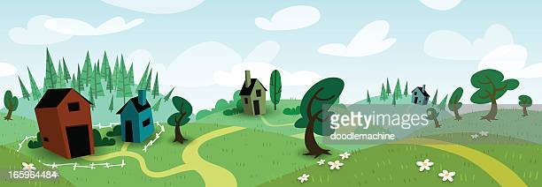 seamless meadow scene - summer - fun stock illustrations