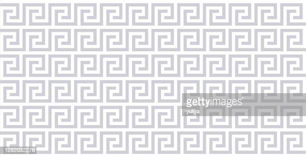 seamless meander pattern in gray and white color, greek key pattern background - greek culture stock illustrations