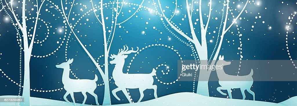Seamless Merry Christmas pattern with deers.