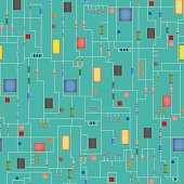 Seamless Microchip background, Electronic circuit board. IC.