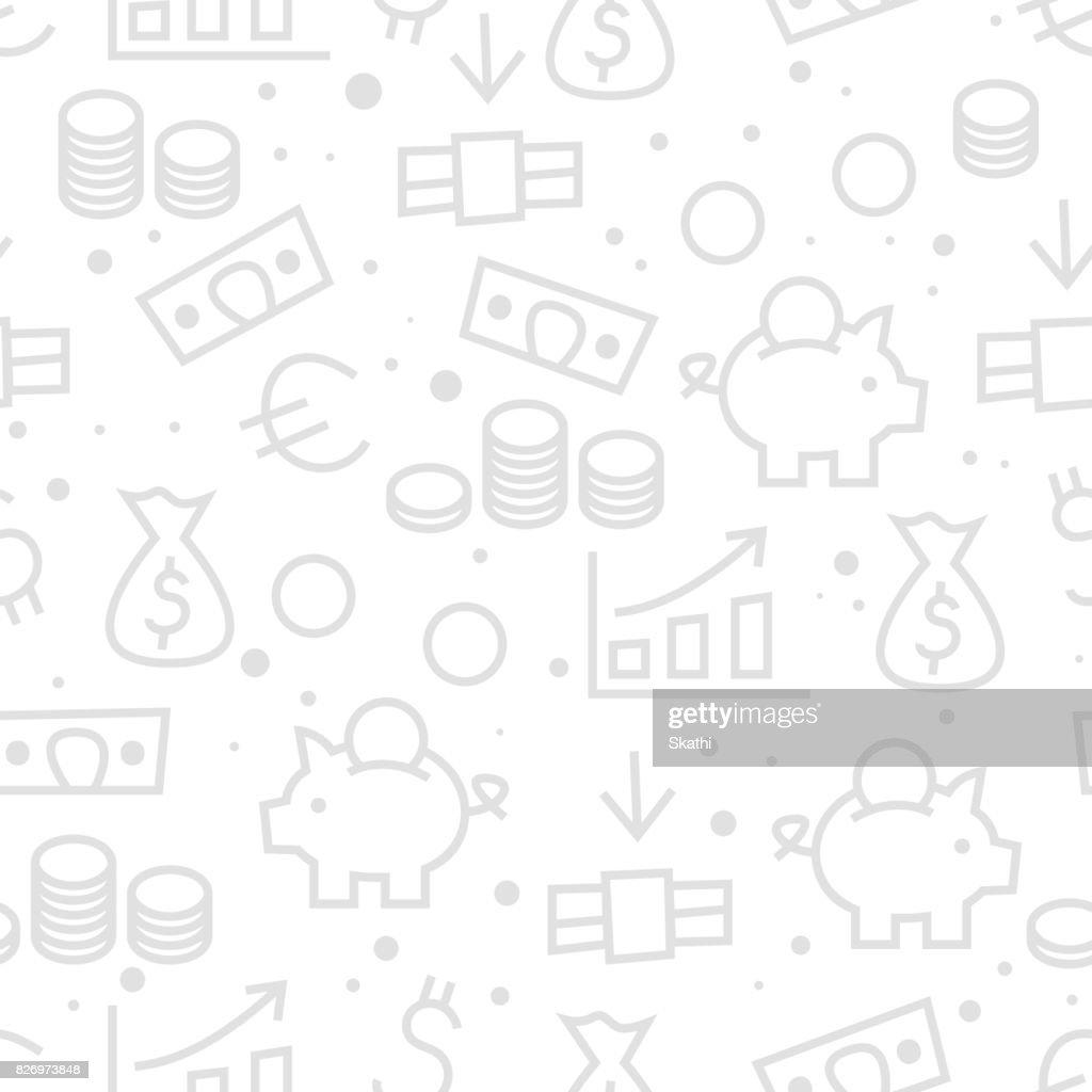 seamless money finance monochrome pattern.