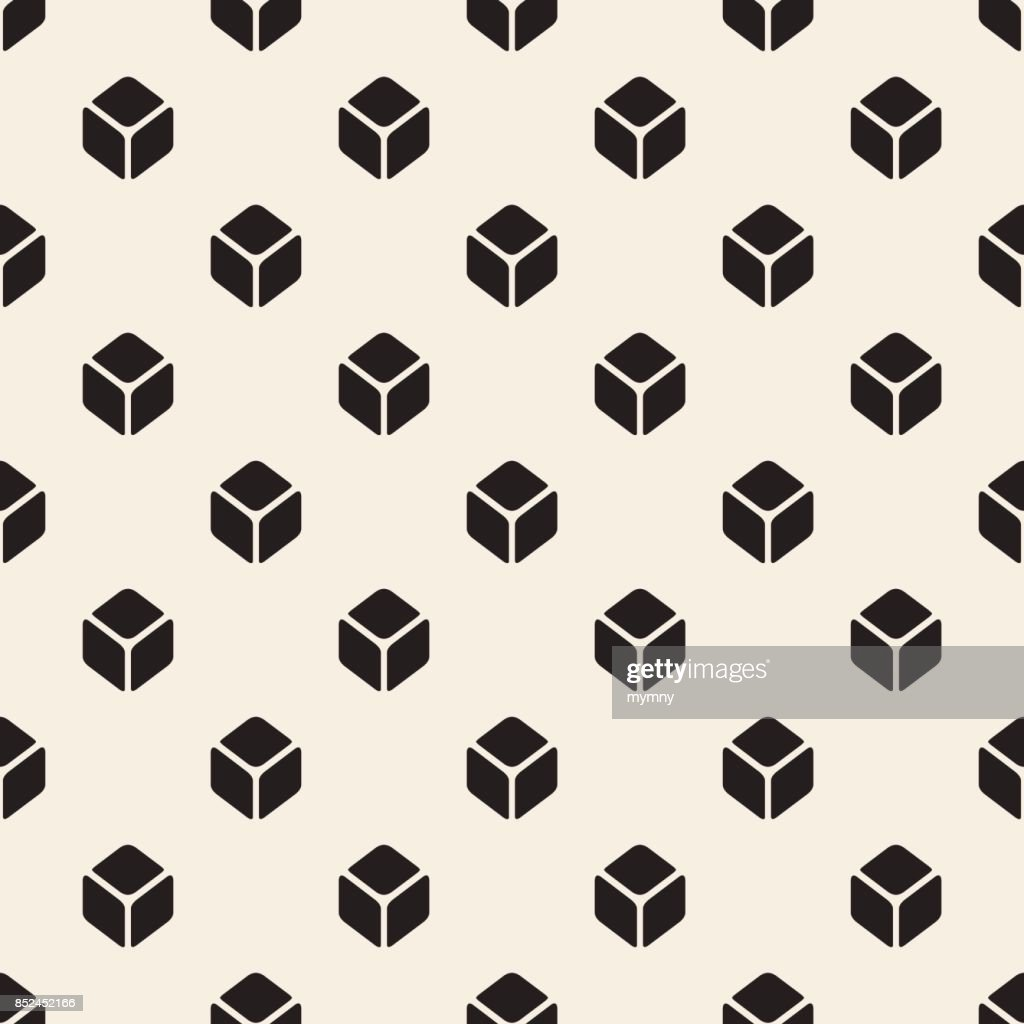 seamless  monochrome isometric square symmetry pattern background