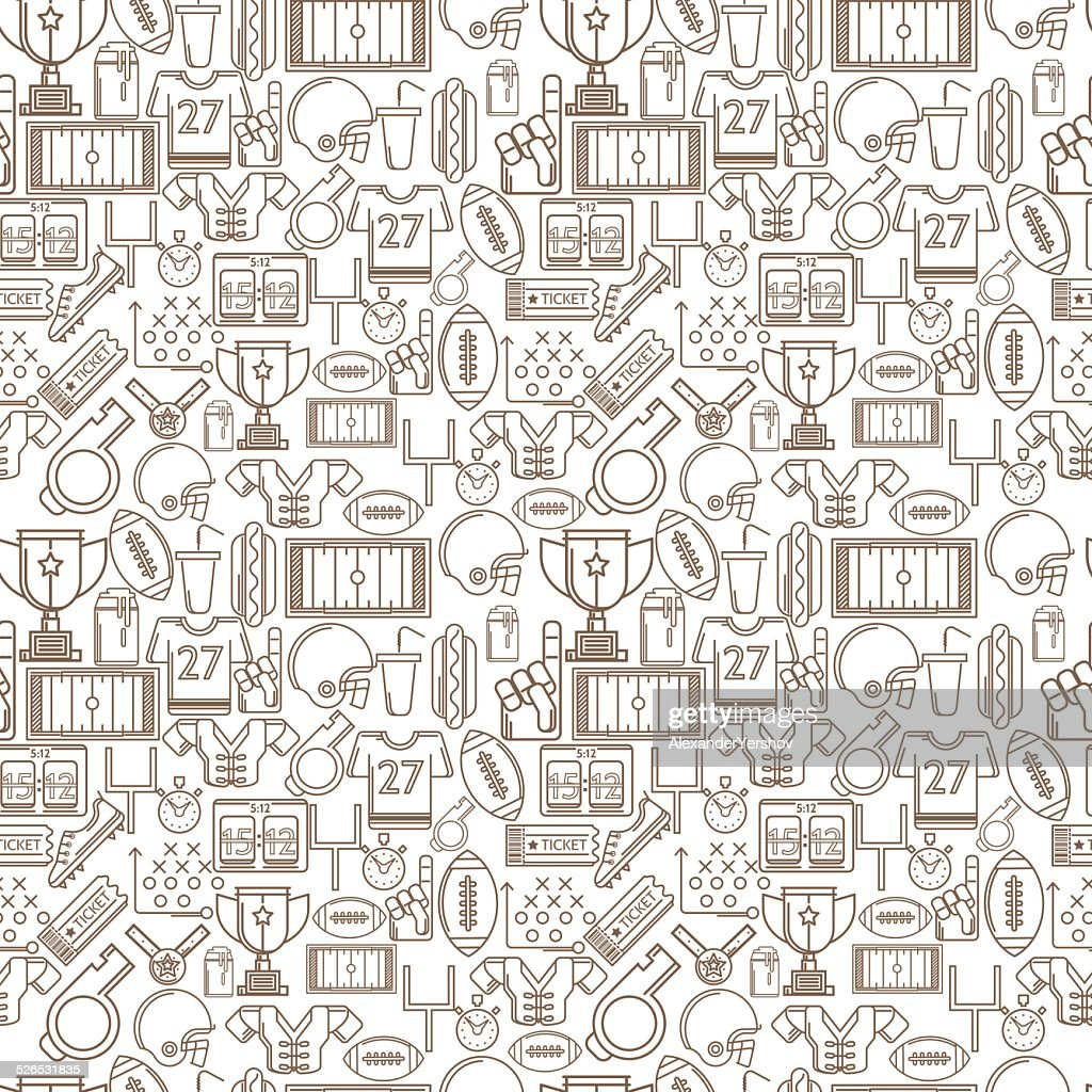 Seamless monochrome vector background for American football