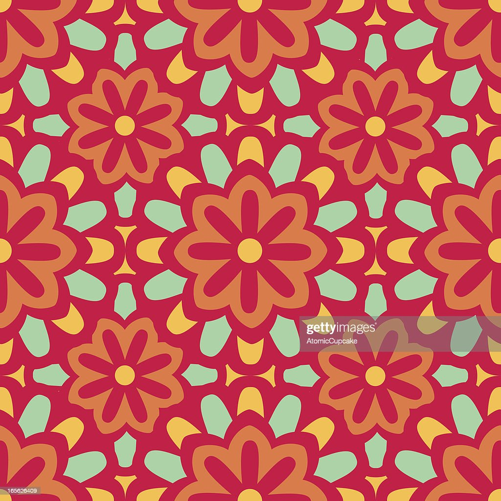 Seamless Moroccan Style Floral Background Pattern Pink Orange