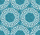 Seamless mosaic pattern -  Blue ceramic tile - geometric ornament