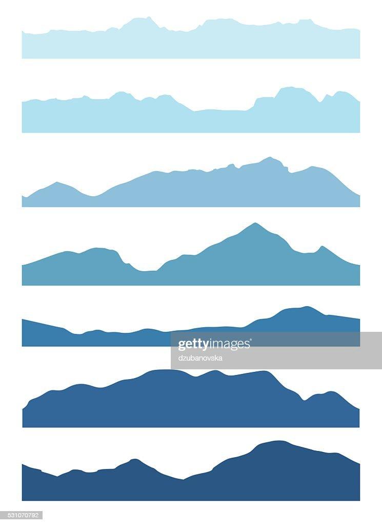 Seamless mountains silhouettes set.