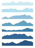 Seamless mountains silhouettes set.