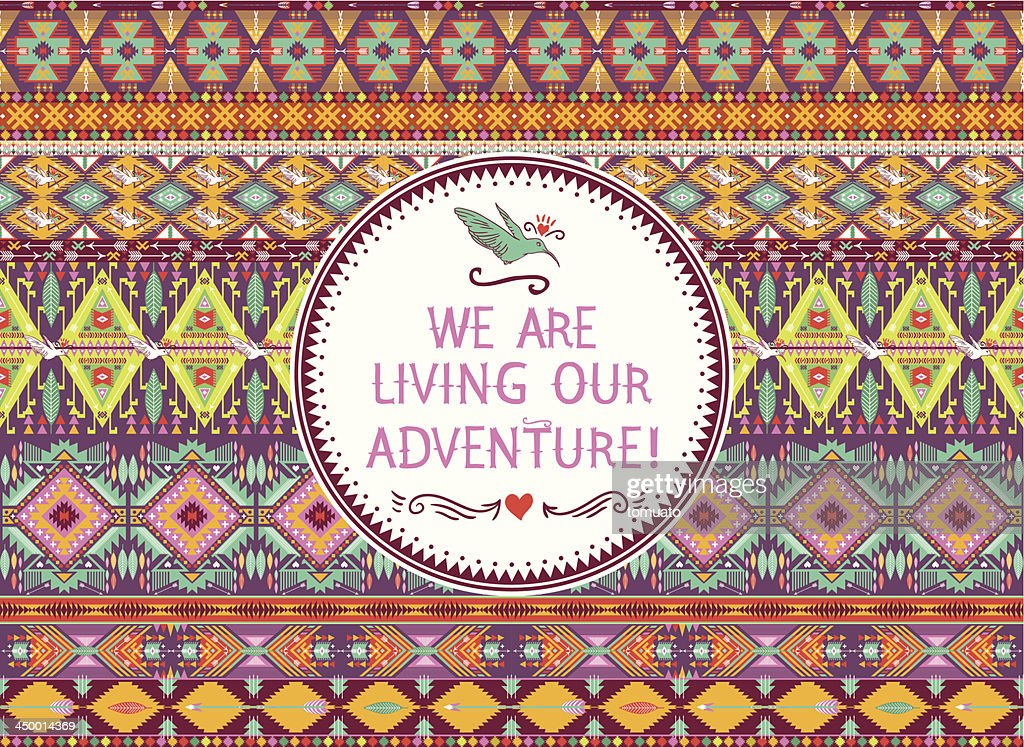 A seamless multicolored hipster tribal pattern
