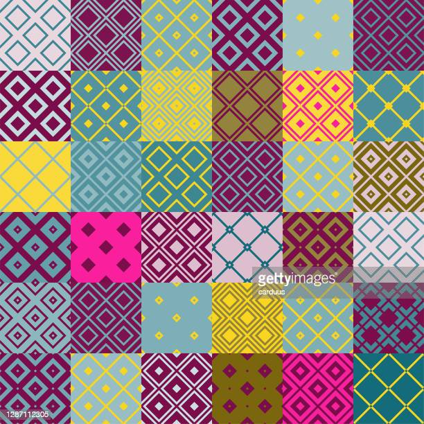 seamless  multi-colored  patchwork  pattern - patchwork stock illustrations