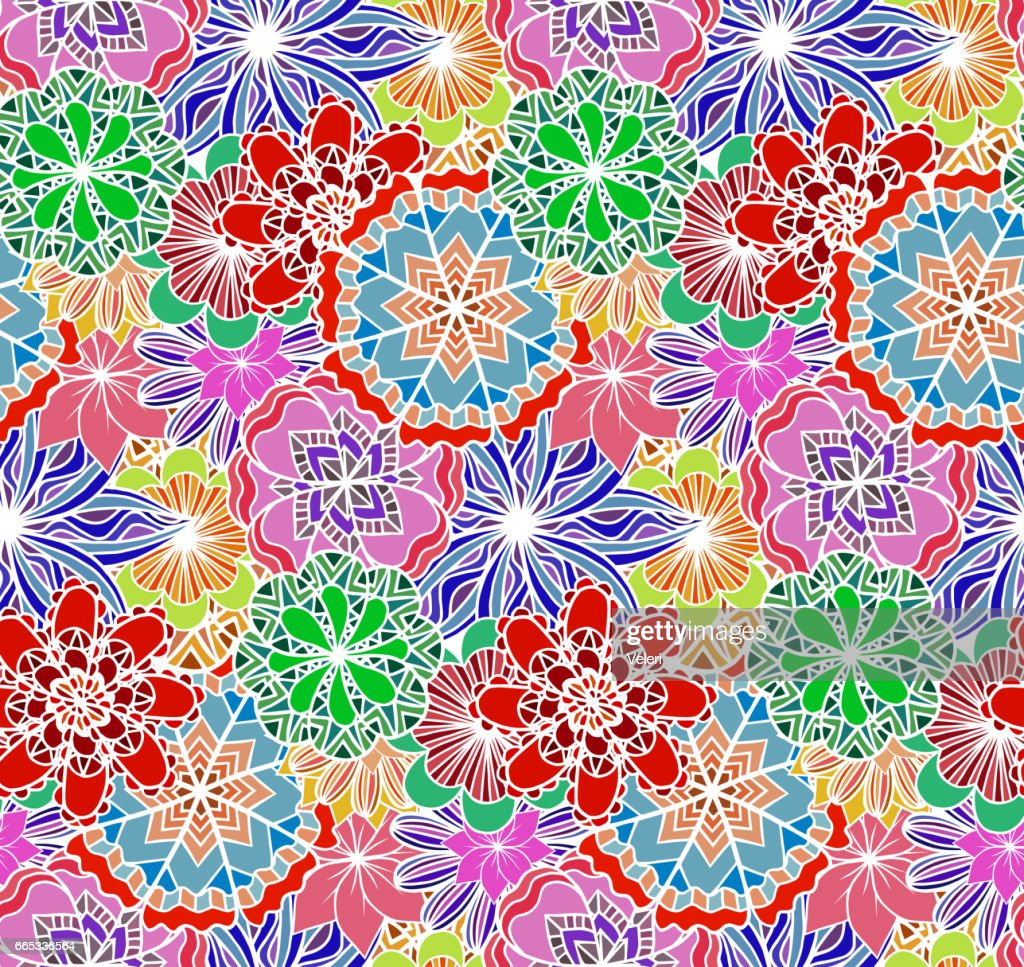 Seamless multicolored texture with doodle flowers. Vector pattern for wrapping paper, wallpaper, fabrics and your design