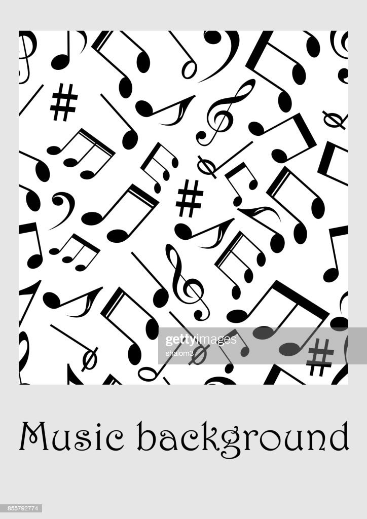 Seamless Music Background With Notes Treble Clef Music Symbols In