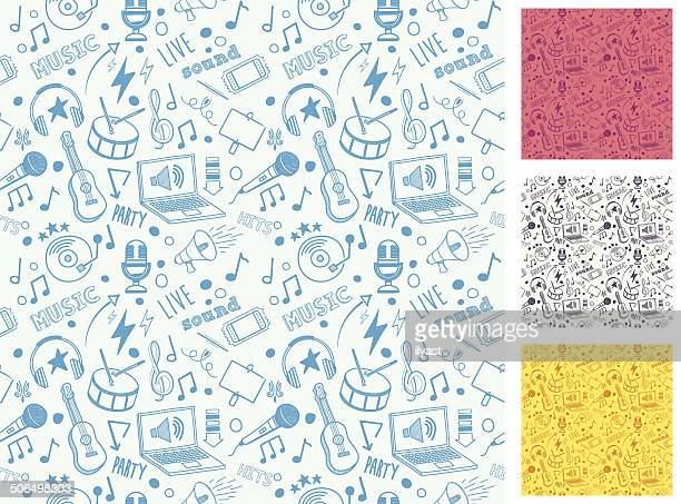 stockillustraties, clipart, cartoons en iconen met seamless music doodle pattern - muziek