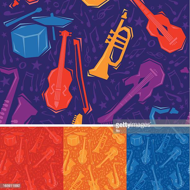 seamless musical instruments - musical instrument stock illustrations, clip art, cartoons, & icons