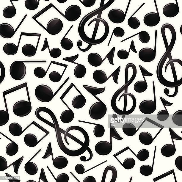 seamless musical notes - soundtrack stock illustrations, clip art, cartoons, & icons