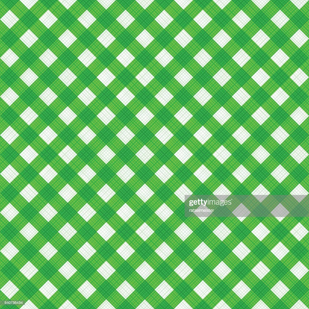 Seamless natural green colors diagonal gingham pattern, or fabric cloth