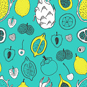 Seamless nature pattern with sketch of fruit. Yellow and white vector line illustration of papaya, fig, pear, peach, mangosteen, lychee on turquoise background. Tropical food